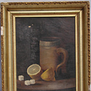 Antique Victorian Still Life Oil Painting // in Frame 12� x 9�
