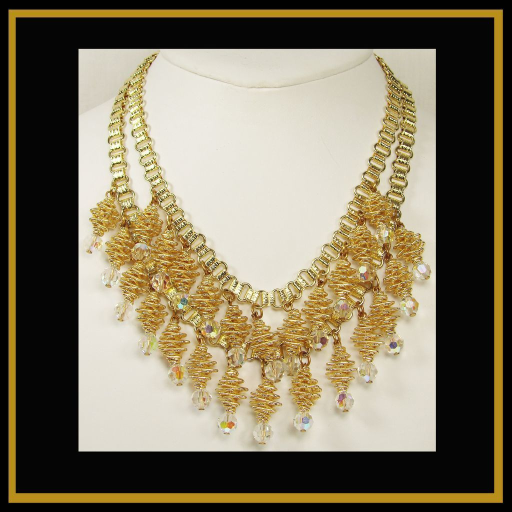 Vintage 1960s Double Strand Necklace // Spiral Pieces with Faceted Glass Crystal