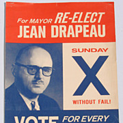 Vintage 1960 Montreal Mayor Jean Drapeau Election Poster Civic Party