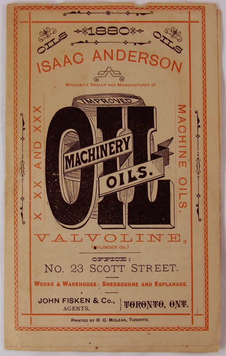 Antique 1880 Valvoline Cylinder Oil Advertising Pamphlet // Isaac Anderson Toronto