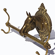 SOLD Vintage Brass Horse Head Coat Hat Rack // 2 Hooks // Western Decor