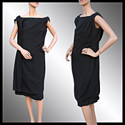 Vintage 60s Little Black Dress // 1960s Draped Crepe Off the Shoulder Ladies Size Large