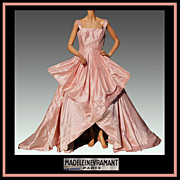 Vintage 40s Madeleine Vramant Dress // 1940s Parisian Haute Couture Pink Silk Evening Gown ...