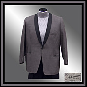 Vintage 60s Gray Tux Jacket // 1960s Shantung Silk Black Shawl Lapel Dinner Jacket Mens Size .
