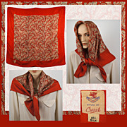 Vintage 1940s Red Silk Paisley Scarf - Currie - 36 1/2""