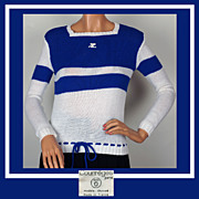 Vintage 70s Courreges Blue & White Sweater // 1970s Acrylic Knit White Logo Ladies Size S