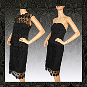 Vintage 50s Black Lace Strapless Dress // 1950s Guipure Lace Top & Skirt Ladies Size M Medium