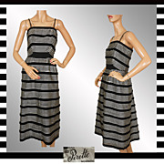 Vintage 50s Suzy Perette Black & White Striped Dress // 1950s Evening Gown Spaghetti Straps La