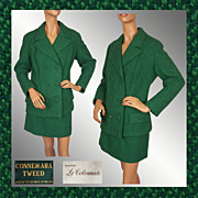 Vintage 60s Green Connemara Tweed Ladies Suit // 1960s Skirt w Jacket Eatons La Colonnade Size