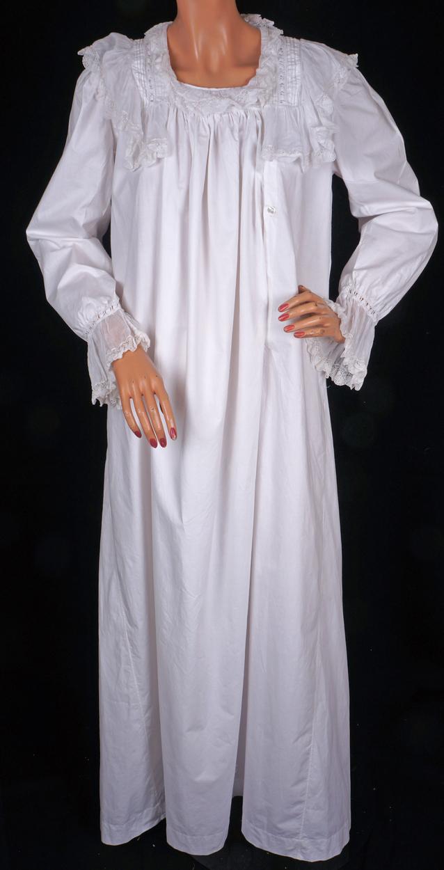 Victorian White Cotton Flannel Nightgown Sleepwear Long