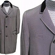 Vintage 60s Mens Silver Sharkskin Coat British Invasion