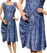 Vintage 1950s Blue Metallic Lace Party Dress Large