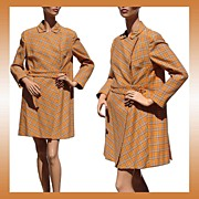 Vintage 60s Brioni Mod Orange Wool Plaid Coat Couture