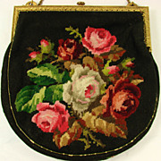 Vintage 30s Petit Point Needlepoint Roses Evening Bag Purse