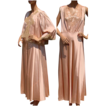 Vintage 40s Pink Silk Charmeuse Nightgown Nightie with Matching Bed Jacket  Large