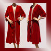 Vintage 1960s Red Velvet Diamond Tea Gown Ladies� Robe Dressing Gown