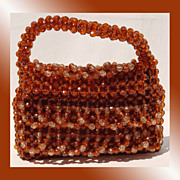 Vintage 1960s Copper Plastic Beaded Handbag Purse Made in Hong Kong