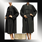 Vintage 1950s Nina Ricci Black Wool & Moire Faille Silk Coat