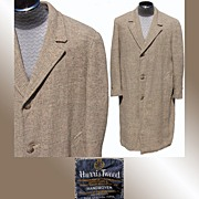 Vintage 1950s Harris Tweed Men�s Coat Overcoat Size 44