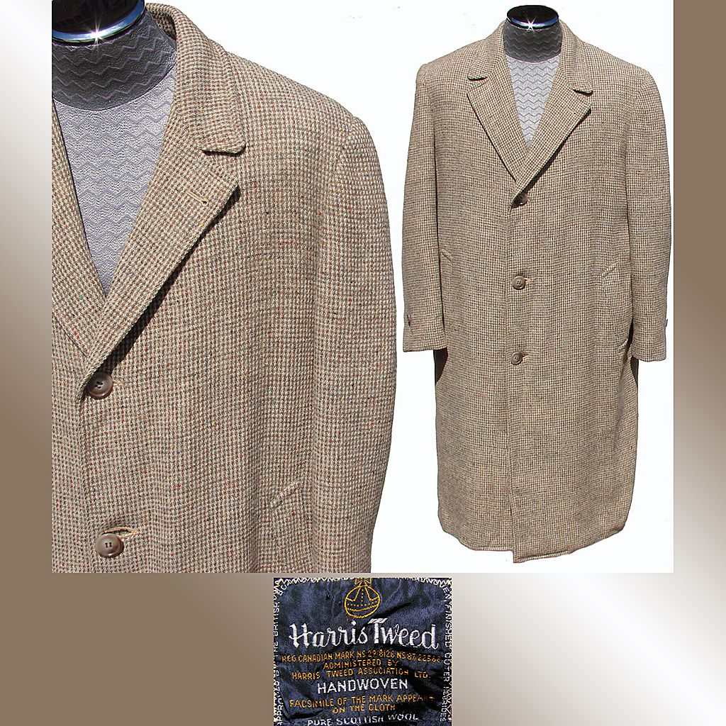 Vintage 1950s Harris Tweed Men's Coat Overcoat Size 44
