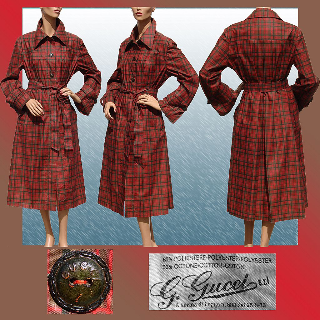 Vintage 1970s Gucci Plaid Raincoat // with Leather Buttons Size 14
