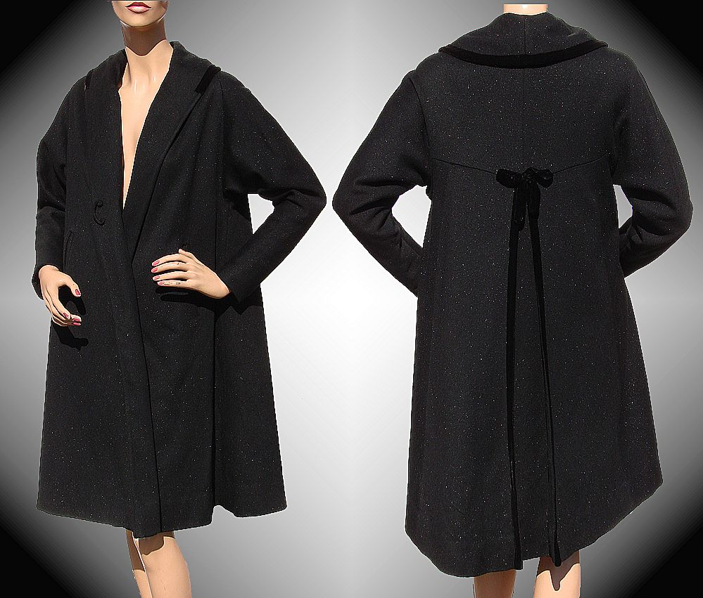 Vintage 1950s Wool Coat Black with Sparkle Fleck Medium