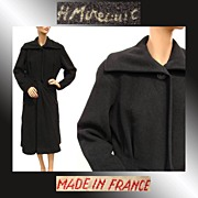 Vintage 1940s Coat French Couture Signed H Mireault Black Wool Ladies� Size Medium