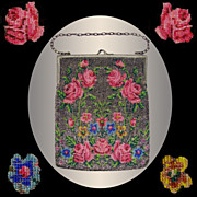 Vintage 1920s Beaded Purse // Evening Bag Floral Rose Pattern