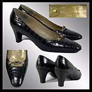 Vintage 1960s Roger Vivier Paris Shoes // Black Alligator Leather Saks 5th Avenue Ladies Size