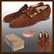 Vintage 1970s Church�s Brown Suede Shoes // Loafers Brass Studded Men�s Size 9 B/C