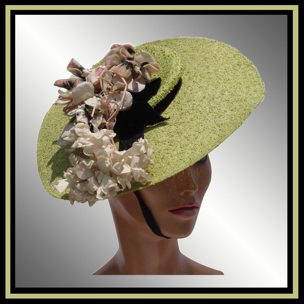 Vintage 1930s Bergere Hat // Green Shepherdess Pancake Dolly Varden Style Ladies Size S / M