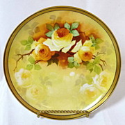 Beautiful Yellow Rose Plate by A. Bronssillon Broussillon
