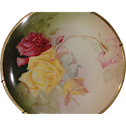 Beautiful Thomas Sevres Bavaria Yellow and Red Rose Porcelain Plate