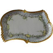 Beautiful Yellow Rose Limoges Porcelain Vanity Tray Artist Signed Coiffe Mark