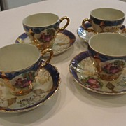 Pretty Set of Four Luster Demi Cup and Saucer from Japan