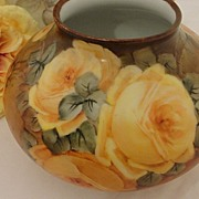 Fabulous Austrian Bulbous Signed Vase Yellow Roses Hand Painted