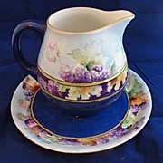 Great Colorful Porcelain Pitcher and Under Plate Hand Painted and Signed Limoges France