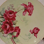 Pouyat Limoges France Porcelain Red Rose Plate