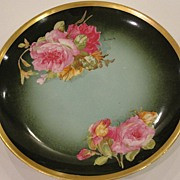 Stunning Artist Signed Green Rose Plate LS&S Limoges