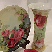 Exquisite Limoges France Porcelain O&EG Austria Cabbage Rose Vase
