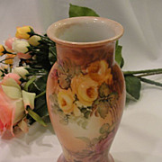 Yellow and Purple Rose Porcelain Vase from Bavaria