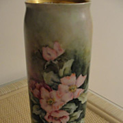 Porcelain Limoges Vase with Pink Flowers