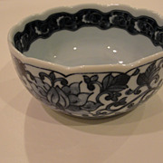 Asian Oriental Bowl with Cobalt Blue Marked on Bottom