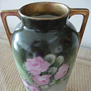 Pretty Bavarian Porcelain Vase with Pink Roses Limoges