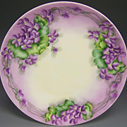 Pretty in Purple Violets Bavaria Porcelain Plate Artist Signed