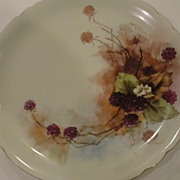Pretty Limoges J P L Purple Porcelain Blackberries Plate