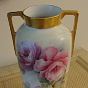 Bavarian Porcelain Vase Pink Roses with Gold Handles