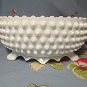 "Fenton Hobnail Milk Glass 3 Footed  8 1/2"" Bowl, Paper Label"