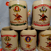 Anheuser Busch 5 Stein Distributor Only Series,Worlds Greatest Family of Beers