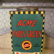 Old Acme 14lb Paris Green Poison Metal Tin